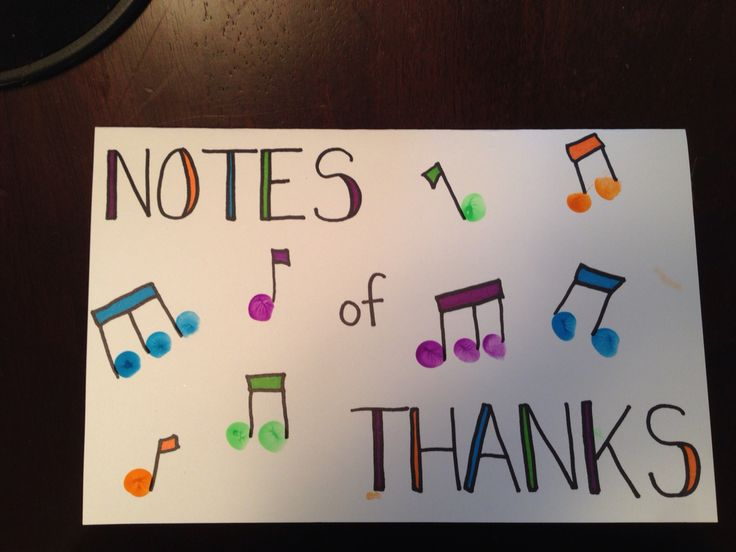 Music teacher thank you card! Fingerprint music notes