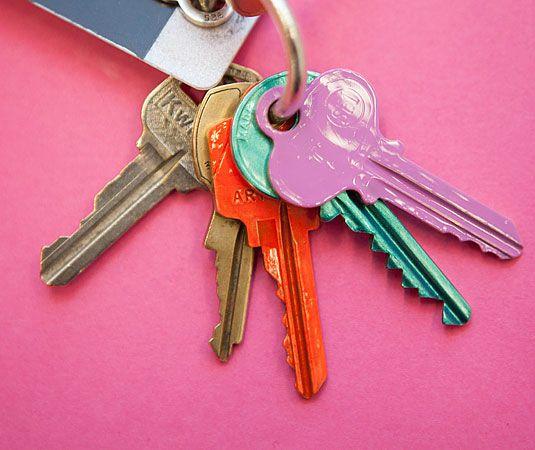 Unconventional Ways to Use Nail Polish - Nail Polish Quick Fixes - Good Housekeeping Organize your keys.