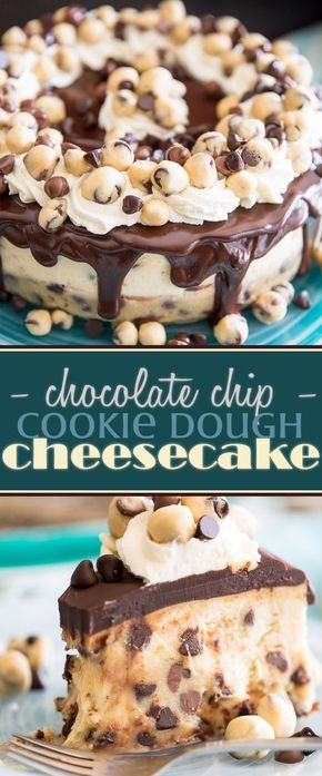 Welcome to your new addiction: two of the most delightful treats in the whole wide world are rolled into one in this Chocolate Chip Cookie Dough Cheesecake.