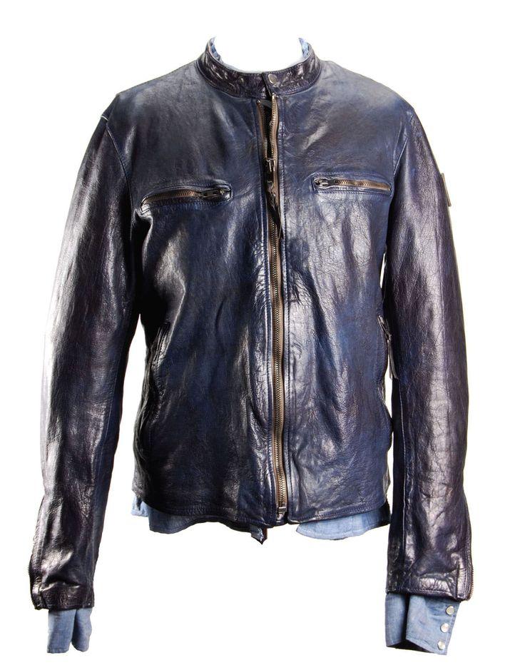 ANTONY - Biker in pelle blu con interno foderato da una camicia in denim, Made in Italy. #htclosangeles #tradingcompany #losangeles #weareartisans #leather #handmade