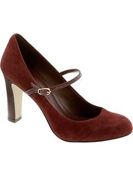 oxblood suede mary jane pumps from Banana Republic for the holidays! BRAnnaK