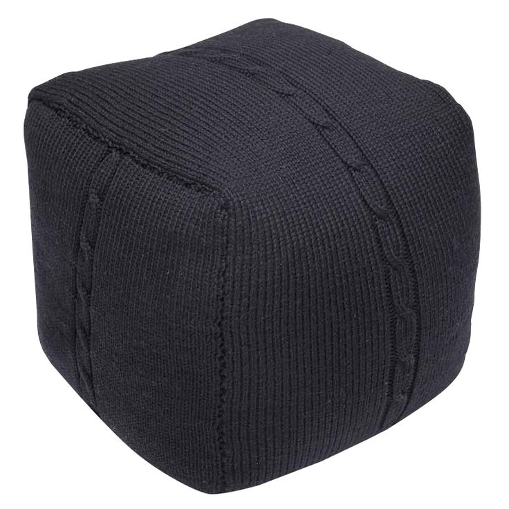 Chunky Cable Pouf - Black