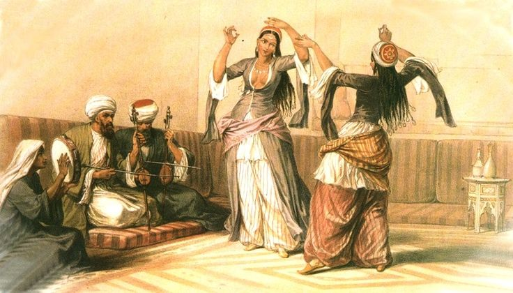 Orientalist-period painting of Ghawazee dancers. From Shushanna Designs: Ghawazee Coats
