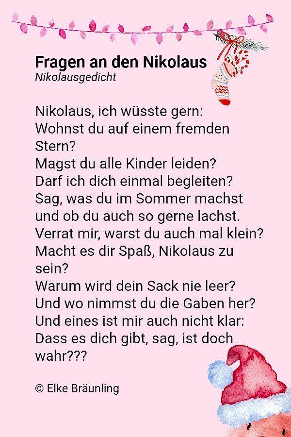 Fragen An Den Nikolaus Elkes Kindergeschichten Nikolausgedichte Gedicht Weihnachten Gedichte Zum Advent