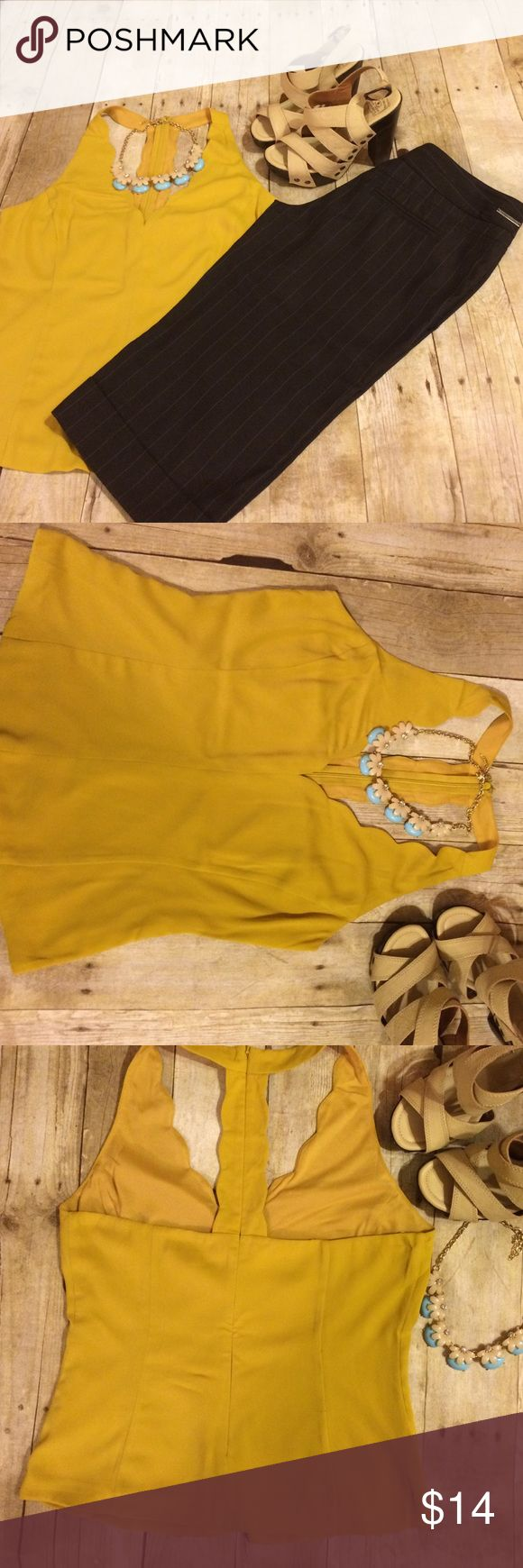 Naked zebra mustard scalloped top Just adorable scalloped top with open back. Perfect for spring/summer. Brand new without tags Naked Zebra Tops Tank Tops