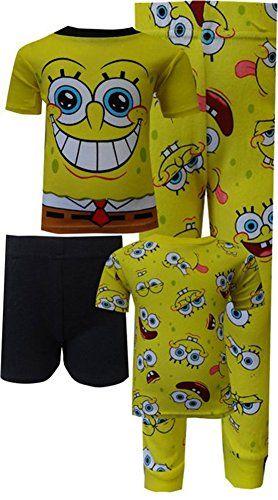 Spongebob Squarepants Cotton 4 Piece Pajamas for Little Boys (4) @ niftywarehouse.com #NiftyWarehouse #Spongebob #SpongebobSquarepants #Cartoon #TV #Show