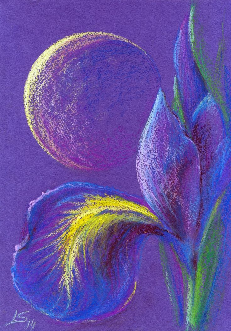 Original Pastel Painting: Royalty Dark-Blue by LS