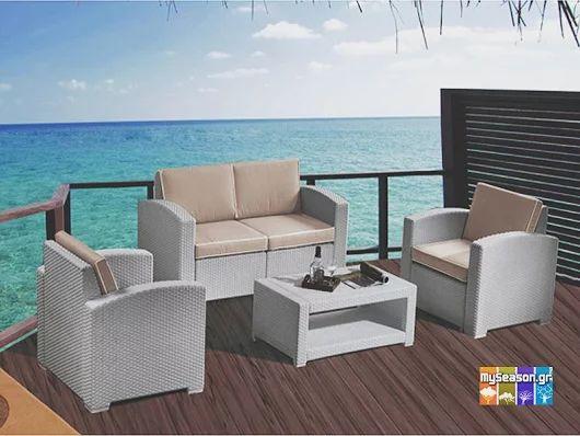 Σετ καθιστικό κήπου από πολυπροπυλένιο γκρι της άμμου και μαξιλάρια με ύφασμα μπεζ. Το σετ αποτελείται από έναν καναπέ 2 θέσεων, δύο πολυθρόνες και ένα τραπεζάκι μέσης ☀ Θα το βρείτε στο #MySeason τώρα με έκπτωση! ☀  https://goo.gl/nrQlQo  #Έπιπλα #Κήπου #Κήπος #Βεράντα #Μπαλκόνι #Καθιστικό #Καλοκαίρι