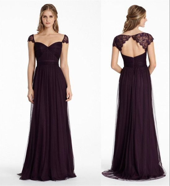 Plum Bridesmaid Dresses Long Soft Tulle Bridemaid A Line Sweetheart Keyhole Back Floor Length Formal With Lace Cap Sleeve As Low