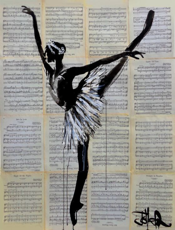 ARTFINDER: Giselle by Loui Jover - sumi ink on vintage sheet music adhered together to create one sheet ready for framing as desired, part of an ongoing series of works featuring ballet dancer...