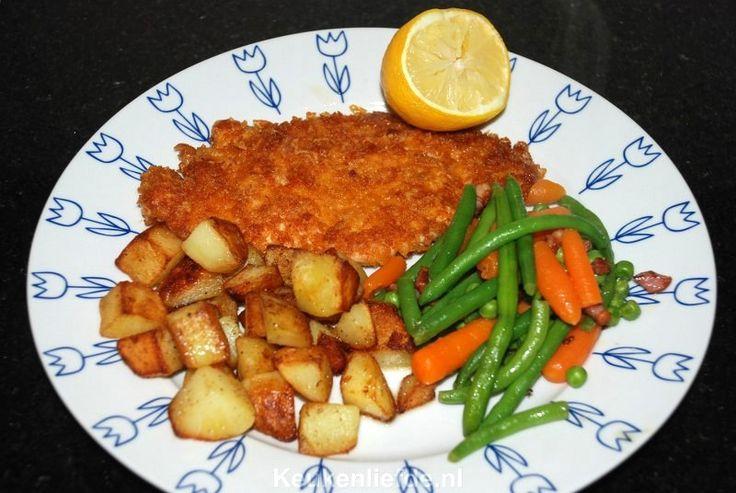 Kipschnitzel in krokant Parmezaanjasje - Keuken♥Liefde