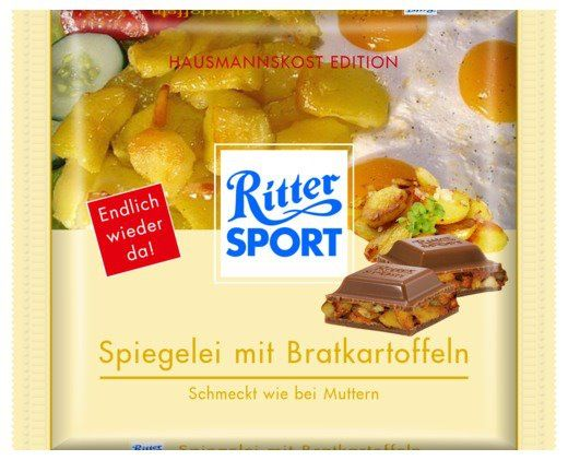 RITTER SPORT Fake Schokolade Spiegelei mit Bratkartoffeln
