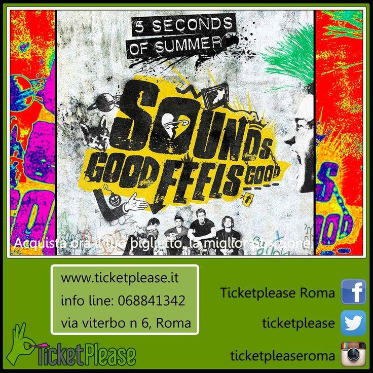 """Ticket """" 5 SECONDS OF SUMMER """" info line: 068841342 www.ticketplease.it mail: info@ticketplease.it Annunciate le date del nuovo tour 2016 'Sounds Live Feels Live'. Due gli appuntamenti previsti nel nostro Paese. 13 maggio Verona, Arena 14 maggio Roma, Palalottomatic @5SOS #SoundsGoodFeelsGood #5SecondsofSummer #MUSICA #CONCERTO"""