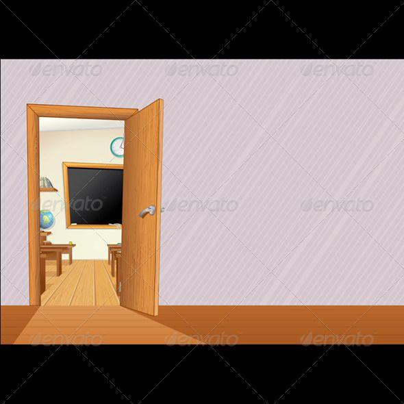 cartoon school door animated classroom door c52 door
