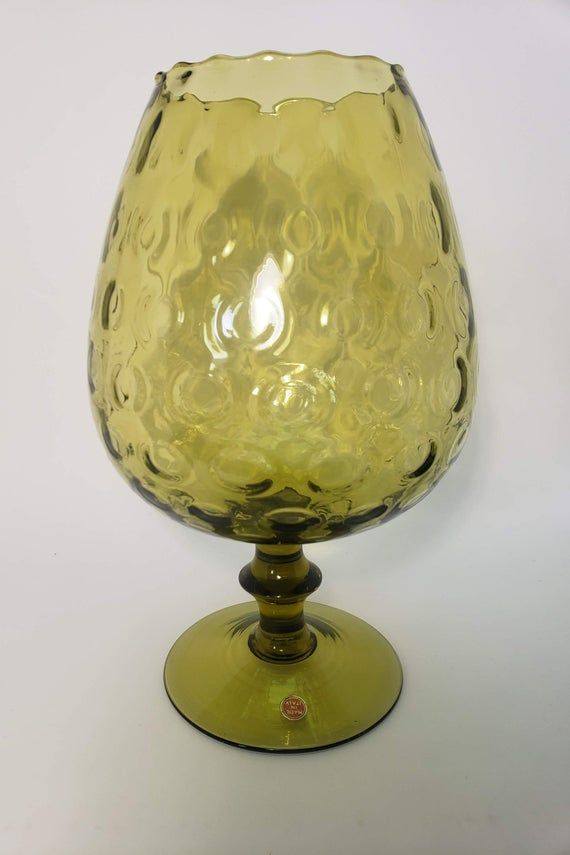 Mid Century Italian Pedestal Glass, Vintage Italian Art Glass Vase, Made in Italy Art Glass