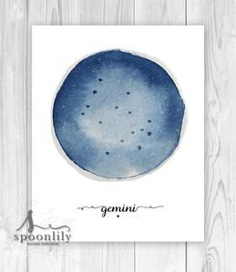 Gemini Constellation, Zodiac Circle Print - Printable