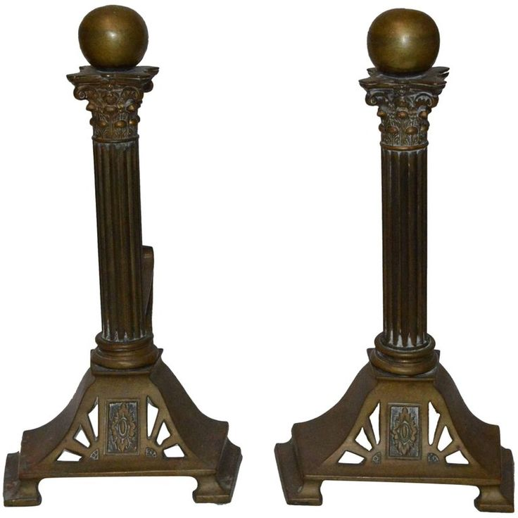 Mid-Century Modern Column Style Bronze Fireplace Andirons | From a unique collection of antique and modern fireplace tools and chimney pots at https://www.1stdibs.com/furniture/building-garden/fireplace-tools-chimney-pots/