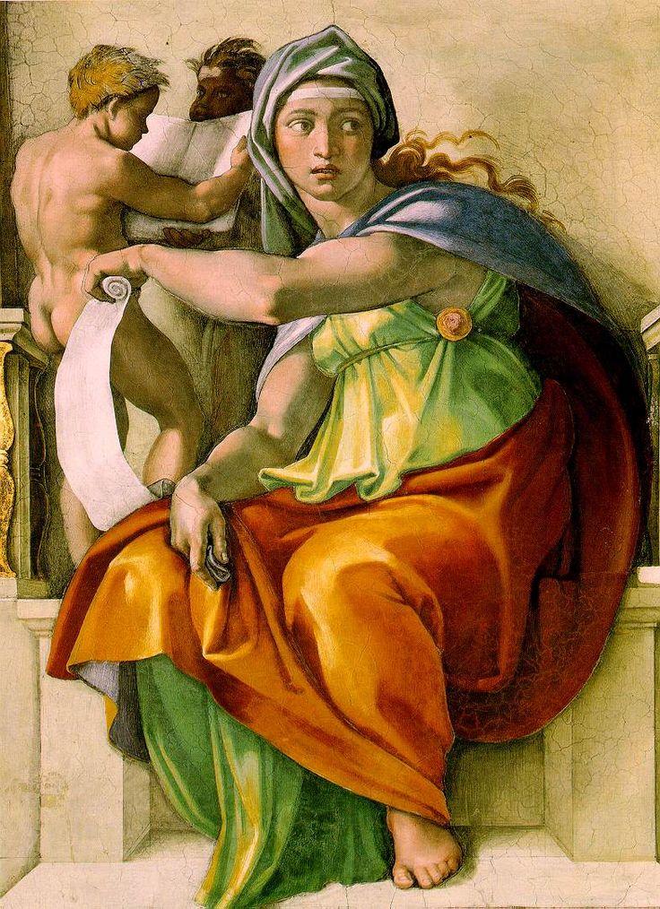 Michelangelo, Sistine Chapel ceiling, Delphic Sybil 1508-1512