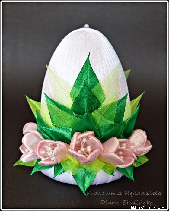 Шелковые пасхальные яйца с цветочками канзаши (14) (560x700, 294Kb)