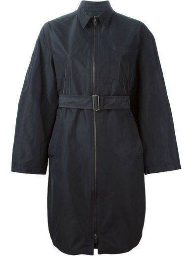 'Blue belted trench coat from Jil Sander Navy featuring a classic collar, a front zip fastening, side pockets and long wide sleeves.'