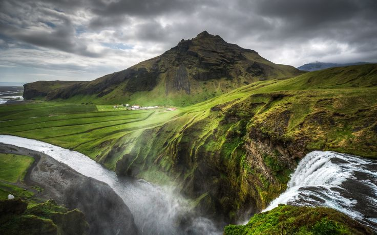 Iceland nature landscapes hills mountains waterfalls grass rocks water rivers fog mist haze spray canyon sky clouds hdr scenic view drops plants