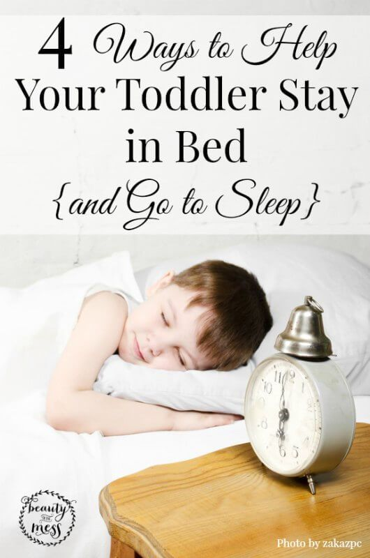 4 Ways to help your Toddler Stay in Bed and Go to Sleep.  Moving from a crib to a big kid bed is a HUGE milestone. But the transition isn't always easy. For some parents it is a day of celebration. For others, it's the day they have been dreading. Here are some ways to help your toddler stay in bed and fall asleep.