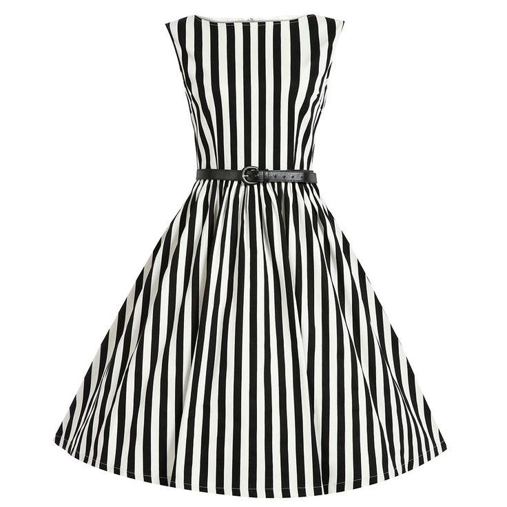 Šaty Lindy Bop Audrey Black Stripe Retro šaty ve stylu 50. let. Kouzelné proužkaté šaty ve střihu Audrey. Přesně to pravé pro zahradní slavnosti, letní večírky, retro párty. Nebo prostě jen na léto - s bílými páskovými botkami, kloboučkem a kabelkou. Velmi příjemný materiál (97% bavlna 3% elastan), živůtek podšitý bavlněnou, podšívkou, pružný, dobře padnoucí střih s lodičkovým výstřihem, v boku skryté kapsy, černý pásek součástí, vzadu na zip.