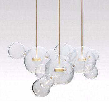 KINLAMS Post Modern Creative Clear Glass Bubble Ball Led Pendant Lamp for dining room living room bar LED Glass Hang Lamp
