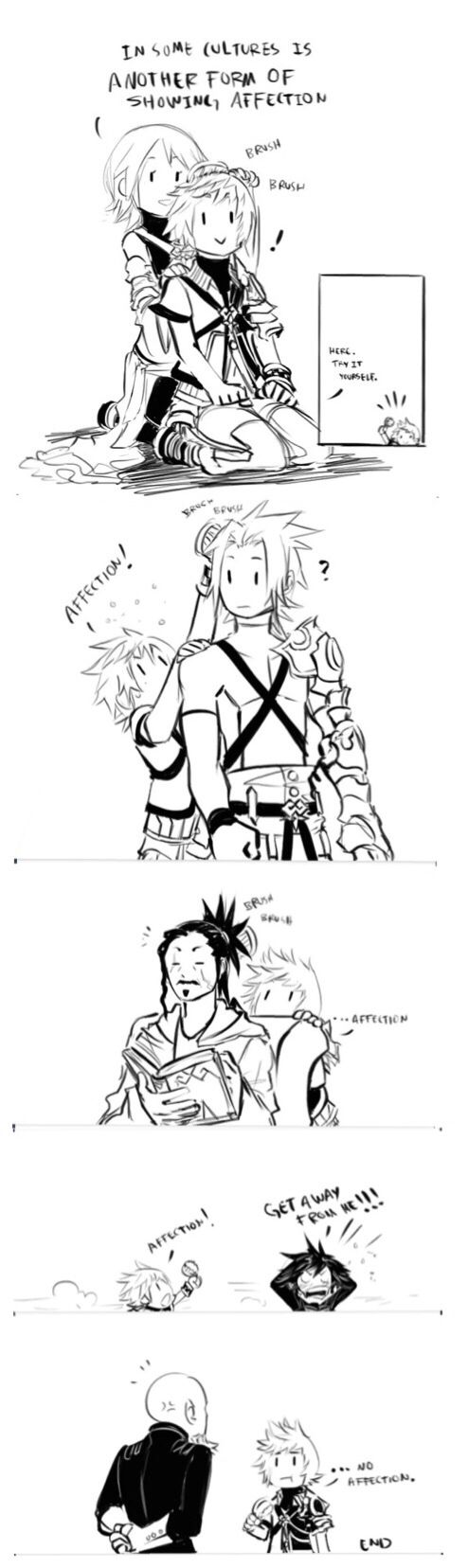 | Kingdom Hearts I can just imagine Ven coming to the world and not knowing what to do and aqua just shows him this.