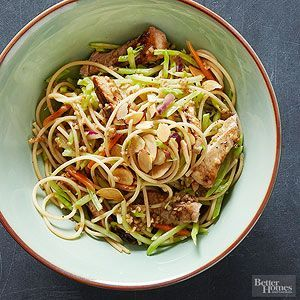 This saucy spaghetti gains bold flavor from zesty marinated pork and crunchy texture from shredded slaw./