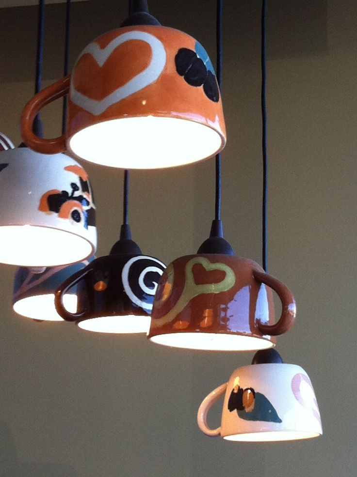 Coffee lamps in Coffee n Cream Dallas Texas ... Would be cute for spot lights in a kitchen. And with nicer coffee cups