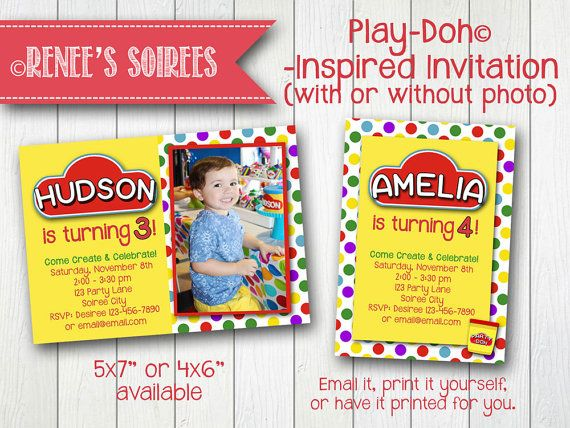 PLAY-DOH Party Invitation  Printable - with or without Photo by ReneesSoirees