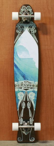 "Gravity 47"" Blue Curtain Black Longboard Complete awesome!"