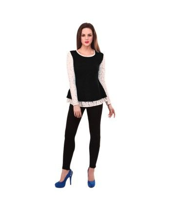Street 9 Lace Sleeve Black #Peplum Top