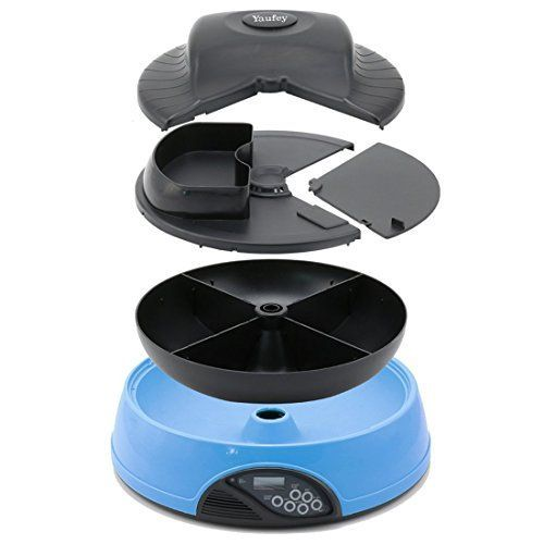 Yaufey Automatic Cat Feeder 4 Meals Programmable Timer Pet Cat Puppy Animal Food Supplies Bowls Water Trays Electronic Station Container (Blue)