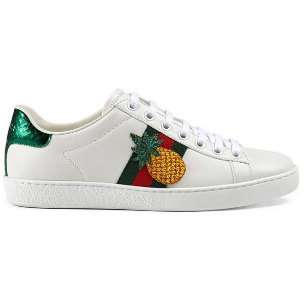 Gucci Embroidered Low-Top Sneaker ($535) ❤ liked on Polyvore featuring shoes, sneakers, women, genuine leather shoes, star shoes, snake leather shoes, leather shoes and gucci sneakers