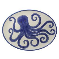 Oval Platter With Octopus Design - North Breeze