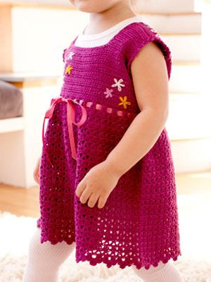 Create this adorable frock with #ribbon and #flower embellishments for your favorite little girl #crafts