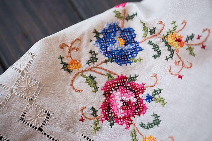 cotton cross stitch embroidery hemstitch tablecloths