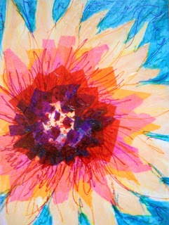 Create Art With Me!: Wandering and Collecting: Crayon & tissue paper collage: O'Keeffe?:
