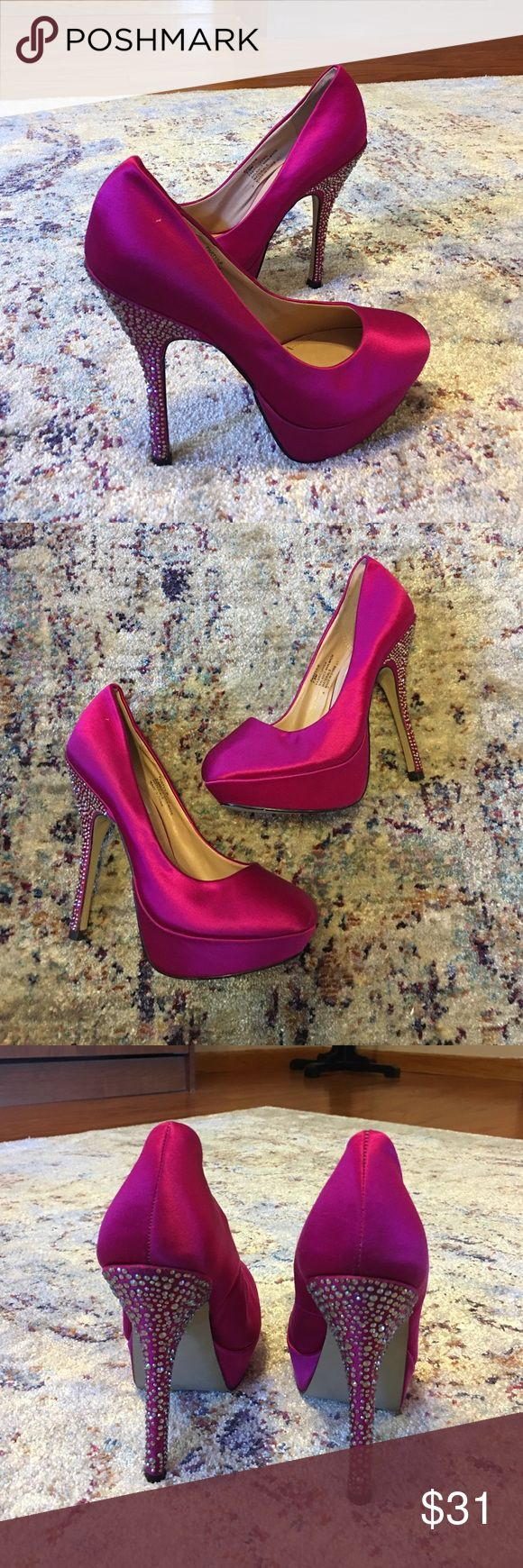 """Steve Madden Partyy-R  Satin Rhinestone Platforms Steve Madden Partyy-R  Satin Rhinestone Platforms. Size 7.5. Fabric upper. Man made balance. Rhinestone coated 5"""" stiletto heel. 1"""" platform. Light use. Excellent overall condition. 8 tiny rhinestones missing in total. You will literally have to study the heel up close to find where they were located. Unnoticeable. Incredible party shoe! Steve Madden Shoes Platforms"""