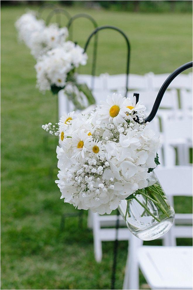 Boho-Chic, Rustic Austin Mansion Wedding Daisies - wedding ceremony aisle decor