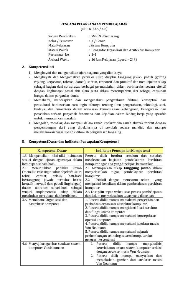 RENCANA PELAKSANAAN PEMBELAJARAN (RPP KD 3.6 / 4.6) Satuan Pendidikan : SMK N 8 Semarang Kelas / Semester : X / Genap Mata...