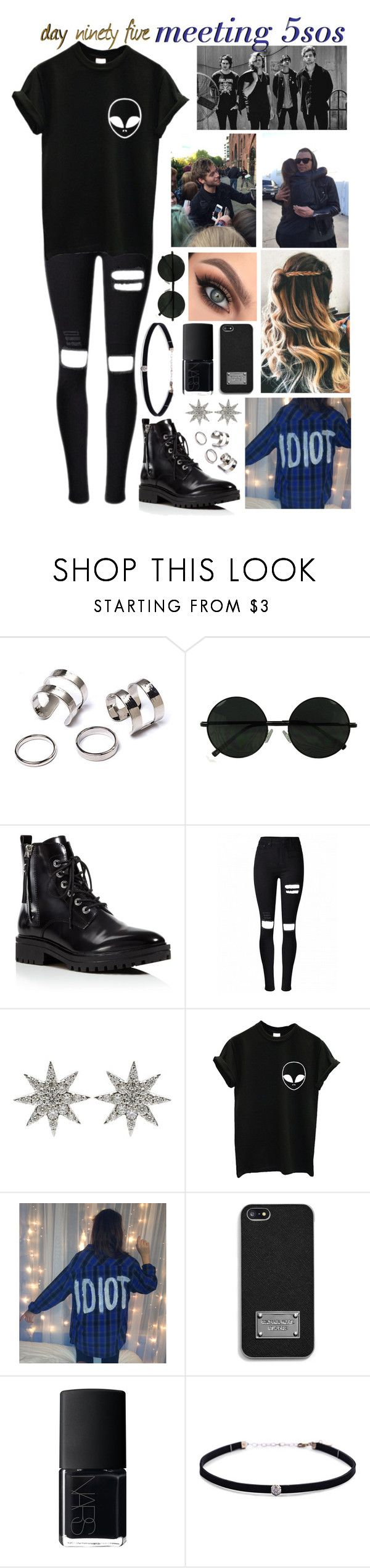 """""""day ninety five, meeting 5sos"""" by roxouu ❤ liked on Polyvore featuring Anastasia Beverly Hills, Kendall + Kylie, Bee Goddess, MICHAEL Michael Kors, NARS Cosmetics and Carbon & Hyde"""