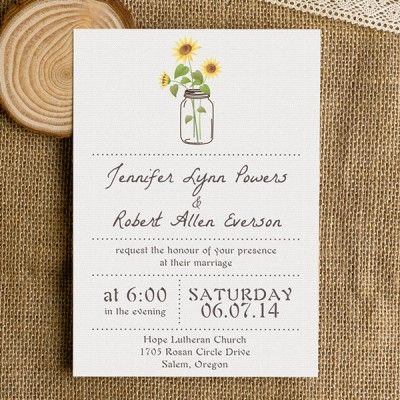 simple rustic wedding invitations with sunflower mason jars EWI355 as low as $0.94 |