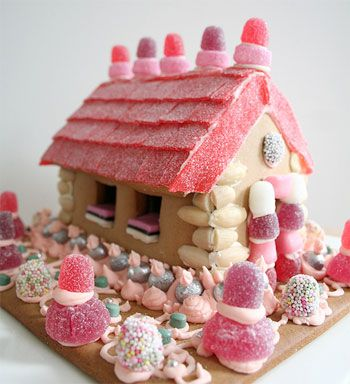 Adorable Pink Gingerbread House