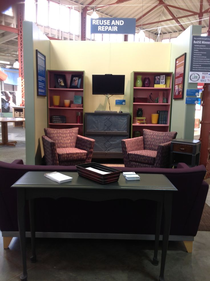 Beautiful reused furniture living room. See the #ReUseRoom at #EcoExperience, from @Arc's Value Village Thrift Store and ReUse Minnesota.