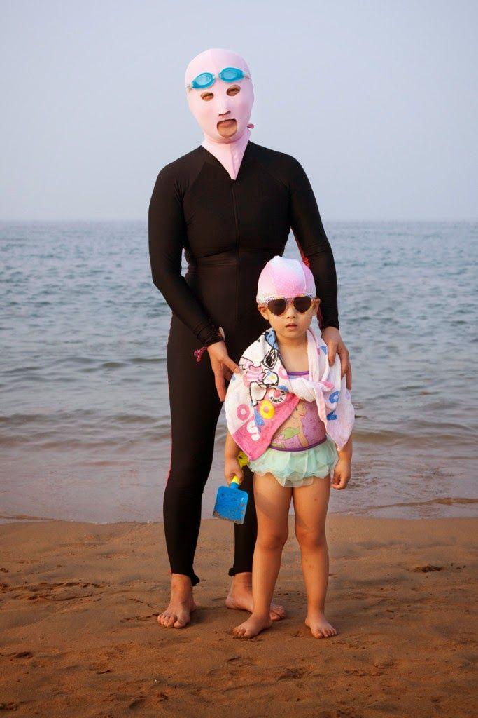 Facekinis in Qingdao Beach, China.