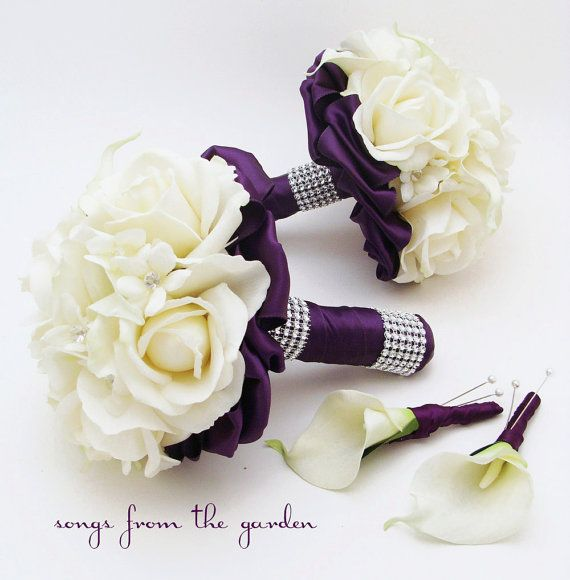 Reserved - Purple Wedding Flower Package Bridesmaid Bouquets Groomsman Boutonnieres Stephanotis Real Touch Roses Real Touch Calla Lilies