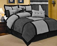 7-PC Comforter Gray Set Black Micro Suede Queen Bed in a Bag New